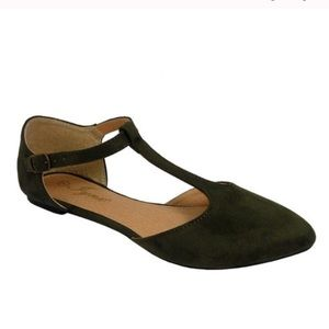 Shoes - Olive Green T Strap Flats